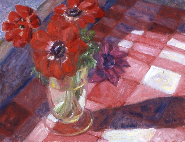 Anemones on Red Checkered Cloth
