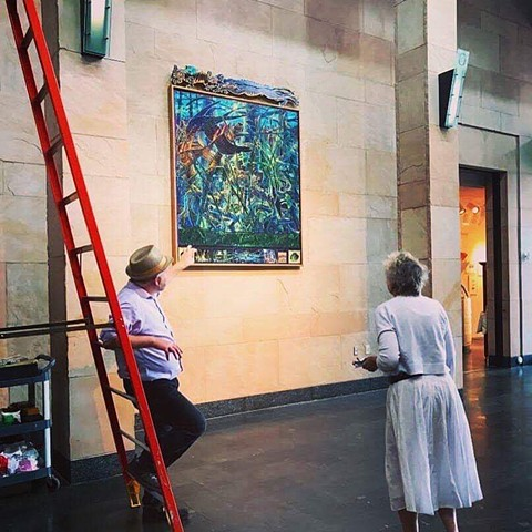 Installing work at Ogden Museum of Southern Art. permanent collection