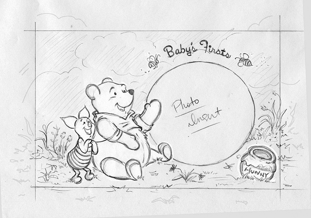 Winnie the Pooh Photo Album Cover Sketch