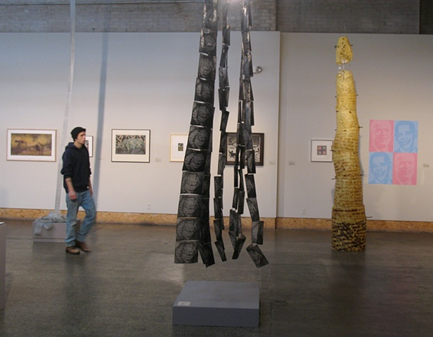 """Casualty"" and ""O yea, Darfur"" installed at the Urban Institute for Contemporary Arts, Grand Rapids, MI"