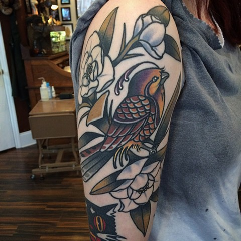 Traditional bayside tattoo done at classic tattoos by keller