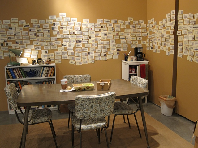 Interactive installation using library catalogue cards and newspaper clippings