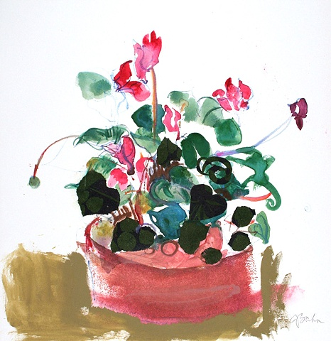 Cyclamen on Tan
