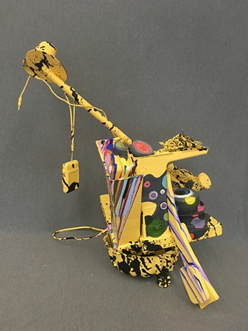 Painted Assemblage Megan Johnson, Sculpture I Painted Found Object Assemblage