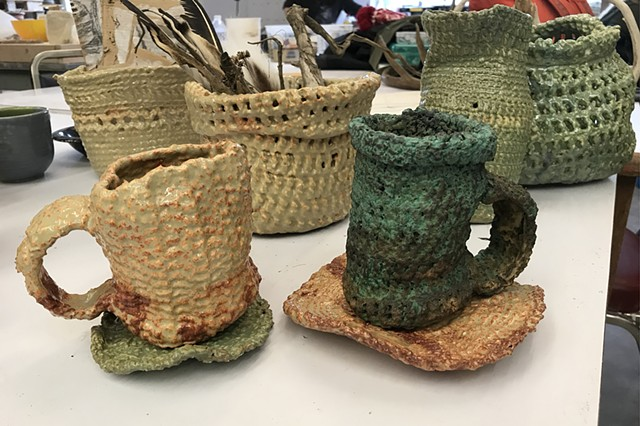 Crocheted vessels Aubree Sisson, Adv Ceramics Slip-dipped crocheted vessels