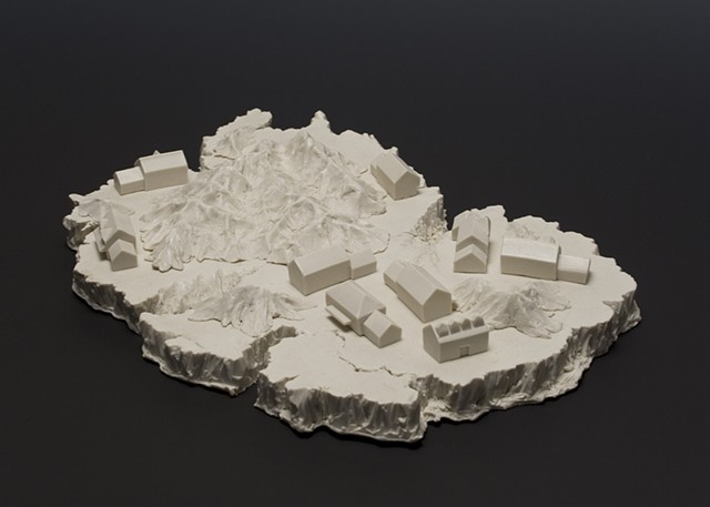 porcelain landscape terrain mountains houses suburbia