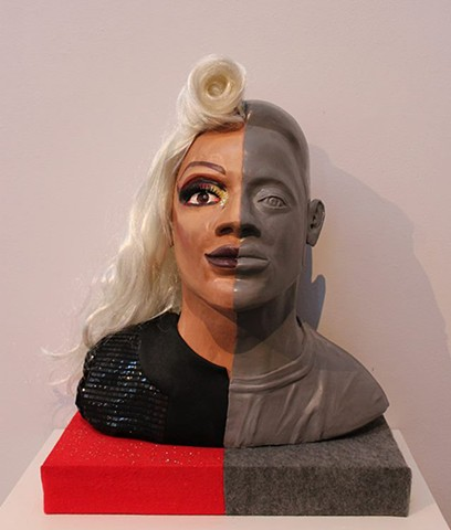 Sashay Away Flynn Hudson, Sculpture II Altered portrait, Hydrocal cast in waste mold