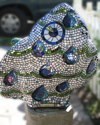 Glass mosaic on cement sculpture