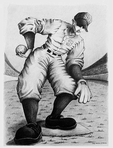 Old time baseball player