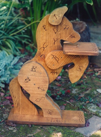 Wooden horse with brands