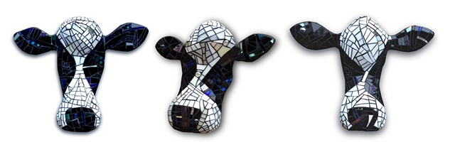 "Large Cow Heads. Belle, Beatrice and Darlene. Approx 18"" to 20"" wide"