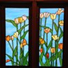Tulips bathroom windows