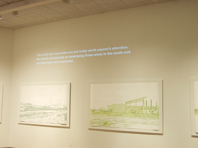 """Vision/Voice/Plan: Salina,"" Salina Art Center, Salina, Ks. 2009. Site drawings and projected resident comments."