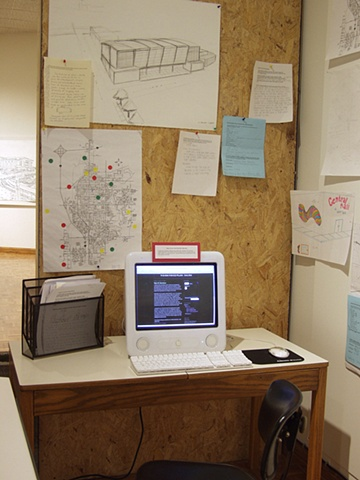 "'Vision/Voice/Plan: Salina,"" Salina Art Center, Salina, Ks. 2009. Workstation with computer/blog, drafting table, materials."