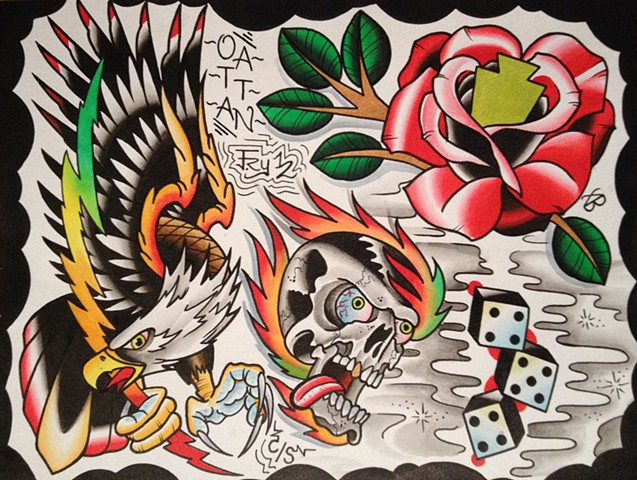 painting for Brad at 454 tattoo