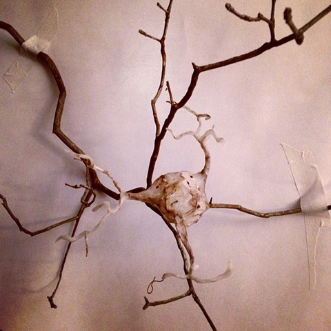 "Air dry ""clay"" with rusty wire and twig. material experiments."