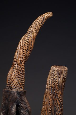 ceramic, stumps, trees, carving