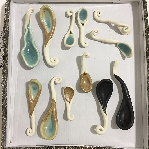 Sometimes I make functional things for Christmas and charity events. These are sugar spoons.