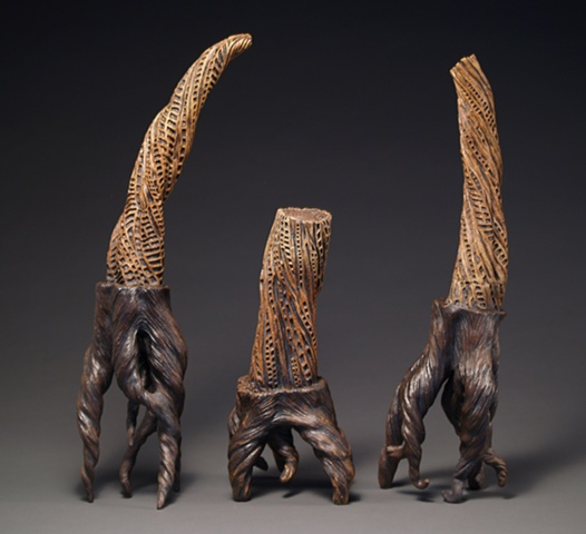 ceramic, stumps, trees, carving, twisted, annie b campbell