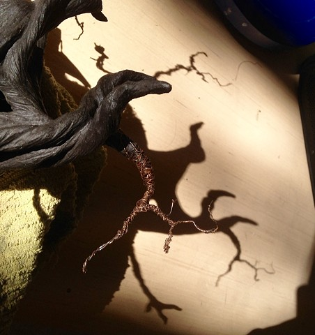 Black stoneware neuron, before adding lights and air dry clay.