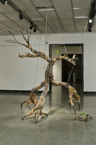 twisted, ceramic, carved, tree, annie b campbell