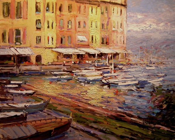July in Portofino, Portofino Italy, paintings of Portofino, paintings by R W Bob Goetting