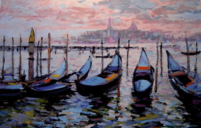 Gondolas, paintings of gondolas, painting of Venetian gondolas, blue gondolas