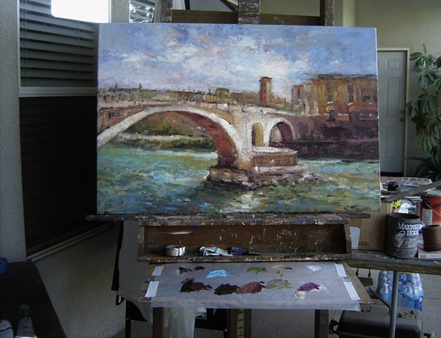 Ponte Fabricio, Roman bridge, ancient Roman bridge, original oil painting