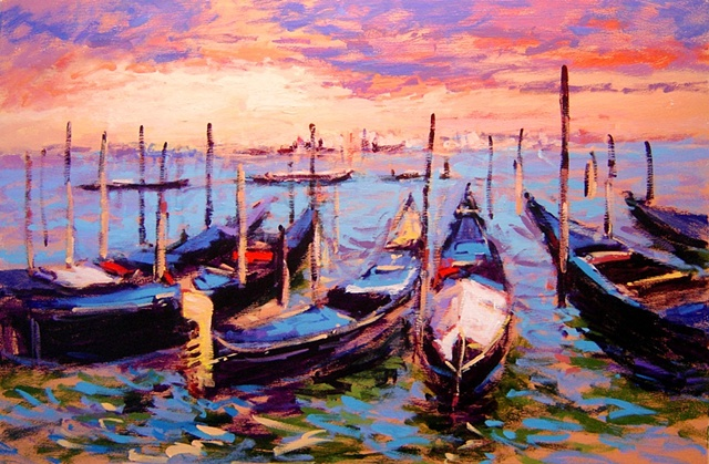Gondolas in the Grand Canal Venice Italy R W Bob Goetting