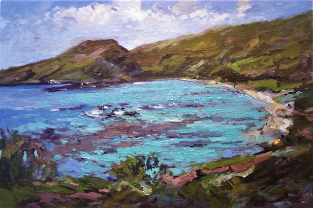 Hawaii, paintings of Hawaii, Hanauma Bay, Oahu, seascape, R W Bob Goetting