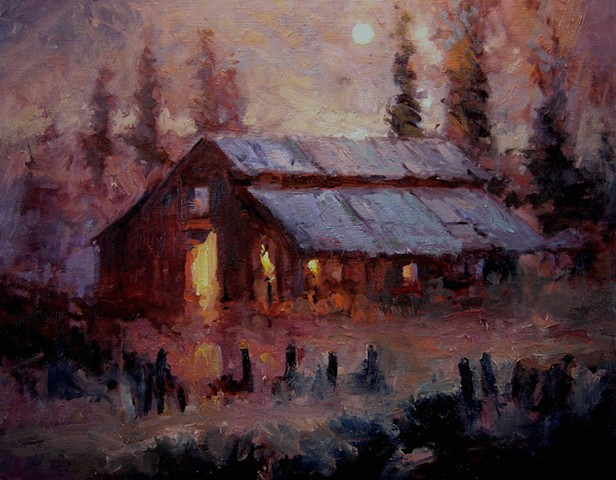 Paintings of barns Old barn in the moonlight, oil paintings of barns, oil paintings of old barns, glowing light, moonlight