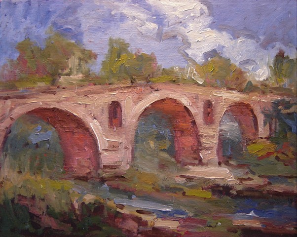 Le Pont Julien, paintings of France, paintings of bridges, Roman bridge,