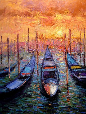Venetian gondolas original oil painting on canvas. Venice