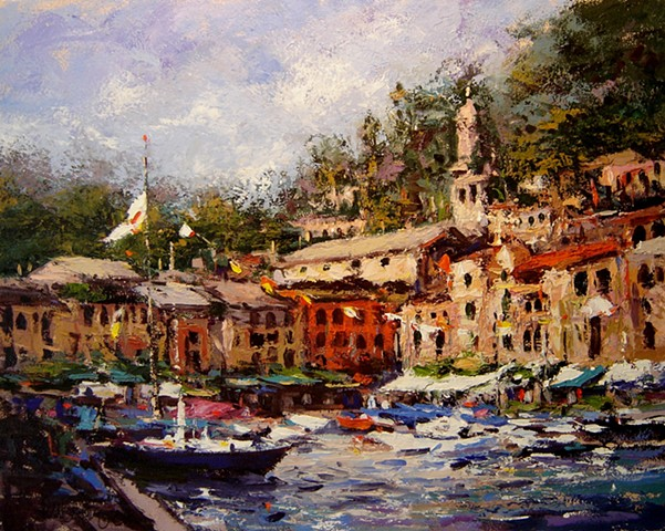 Holiday in Portofino, flags flying, boats in the harbor.  R W Bob Goetting, french and italian riviera