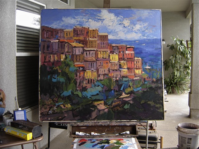 Paintings of Manarola, Paintings of Cinque Terre, Italy, Italian, Manarola, expressive paintings
