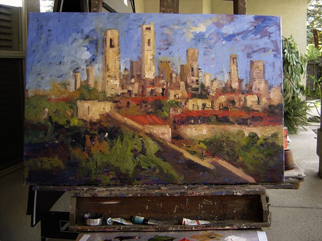 San Gimignano Italy, Italian hilltowns, R. W. Bob Goetting, original oil paintings of Italy, paintings of San Gigmagnano