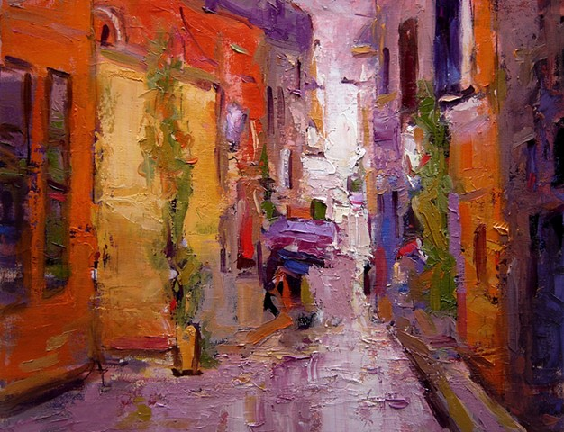 Rovinj, Croatia, backstreet, orange, violet,  R W Bob Goetting