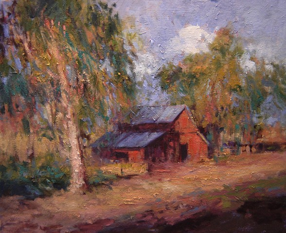 Country barn original oil on canvas R W Bob Goetting