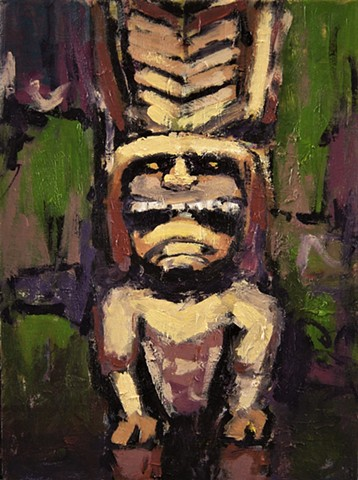 Tiki head, Tiki god, Kanaloa, Hawaiian god, paintings of tiki gods, Ki'i god, ki'i hawaiian statues