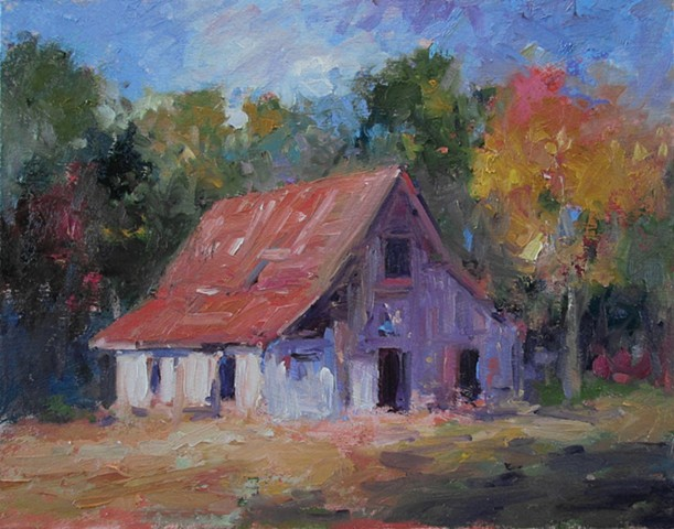 Old white barn, oil paintings of barns, original oil paintings, R W Bob Goetting, oil paintings of old barns