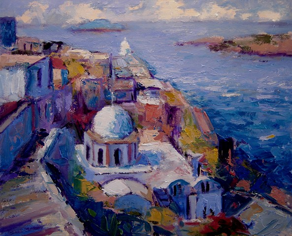Afternoon in Santorini, painting of Santorini, Painting of Santorini Greece