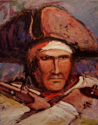 Original oil painting of a defiant pirate