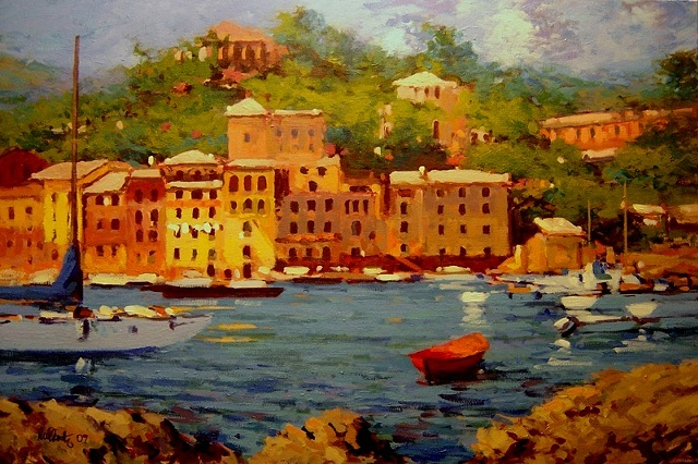 Painting of Portofino Italy original oil painting R W Bob Goetting Painting of Portofino, french and italian riviera