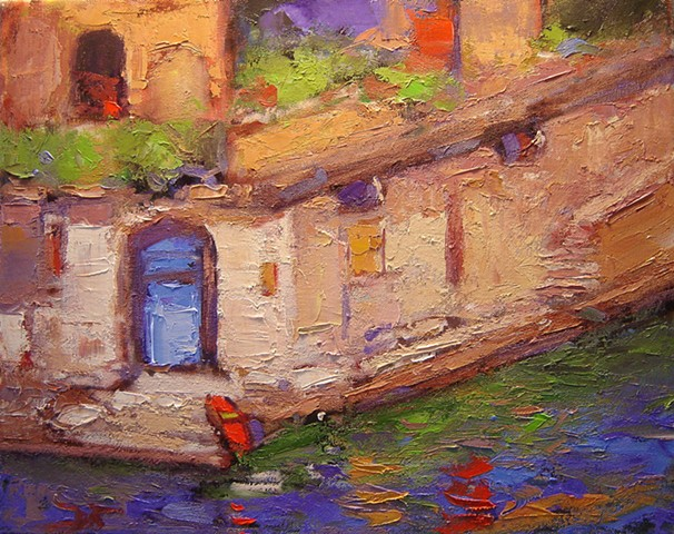 Blue door at Hotel Splendido Original oil painting of Portofino Italy