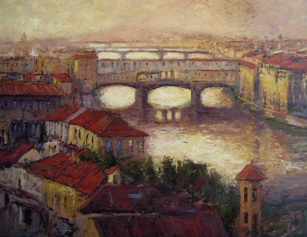 Firenze, Florence, Ponte Vecchio, paintings of Italy, Paintings of Florence, R. W. Bob Goetting