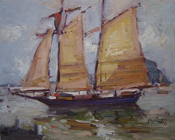 Sailing ship entering Morro Bay California, Paintings of Morro Bay, Morro Bay California, artwork of Morro Bay