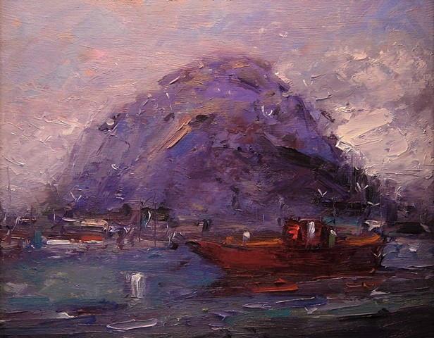 Morro Bay California, Morro Bay, California, boat, boats, sunrise, morning light, paintings of Morro Bay