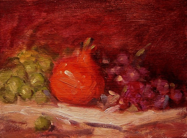 Pomegranate and grapes