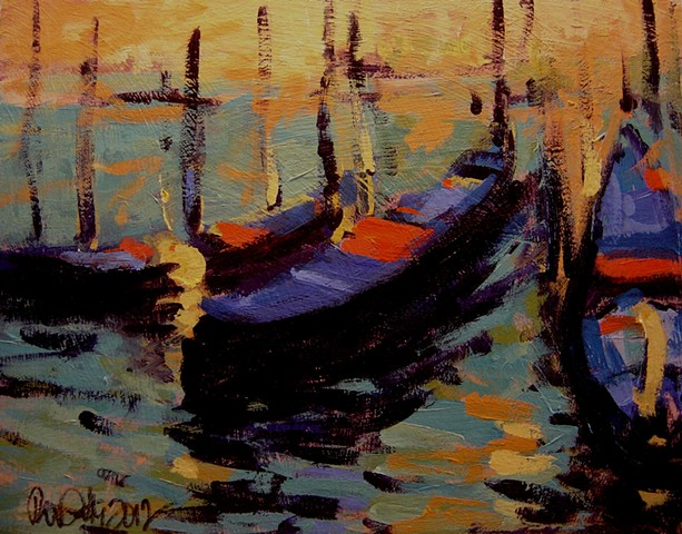 Venetian gondolas in late afternoon light