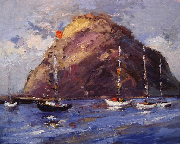 Boats in front of Morro Rock
